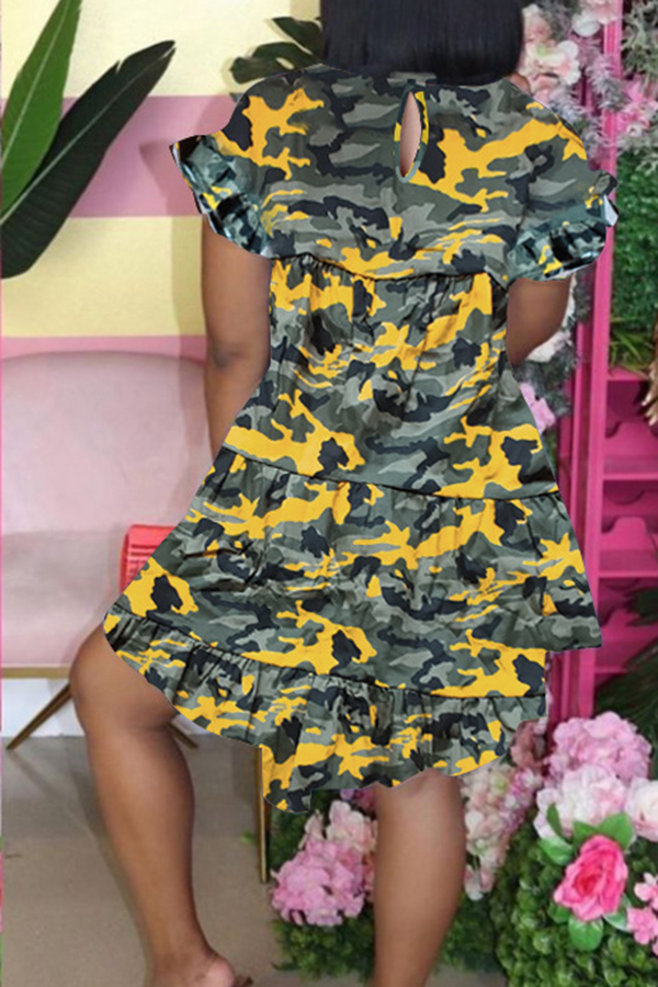 Camouflage Short Sleeve Ruched Dress