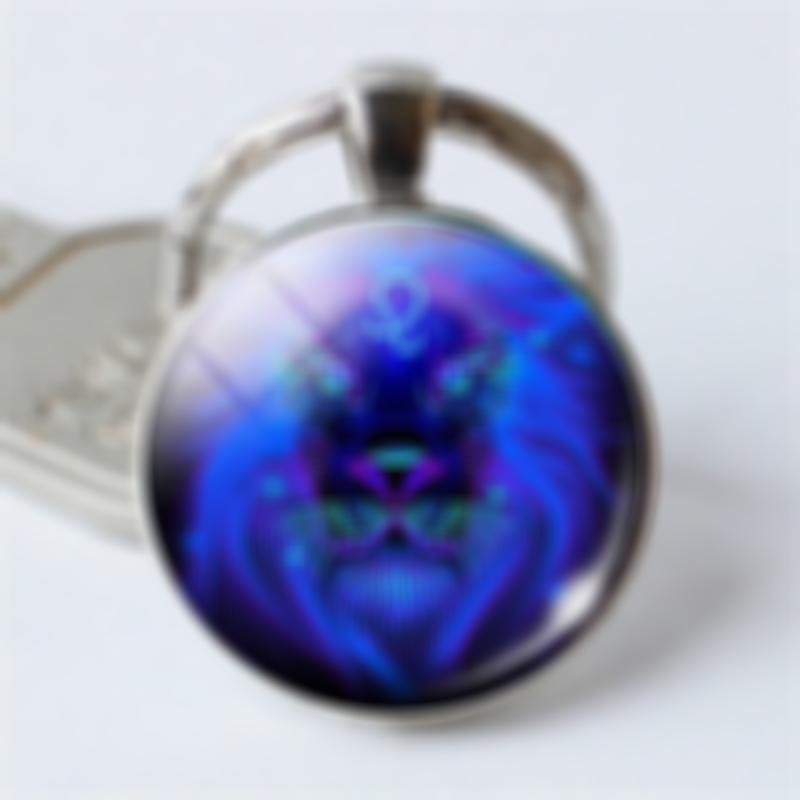 Lmfens 12 Constellation Blue Glass Key Chain