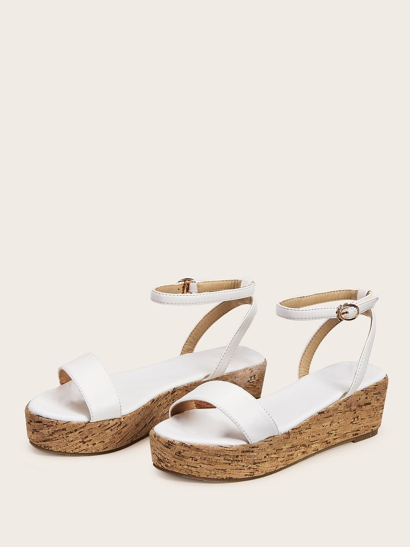 Two Part Ankle Strap Cork Wedges