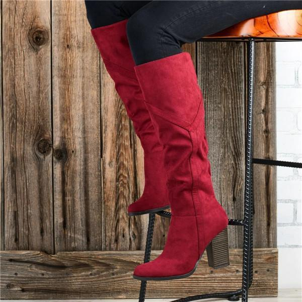 Lemmikshoes Women's Chunky Heel Knee High Boots