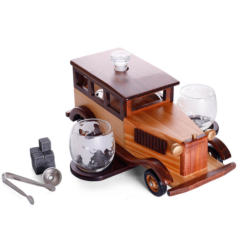Vintage Car Whiskey Decanter and Wine Glasses Set