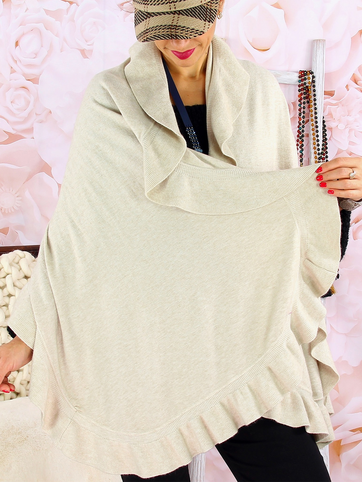 Casual Cotton,Polyester Sleeveless with Cloak/shawl