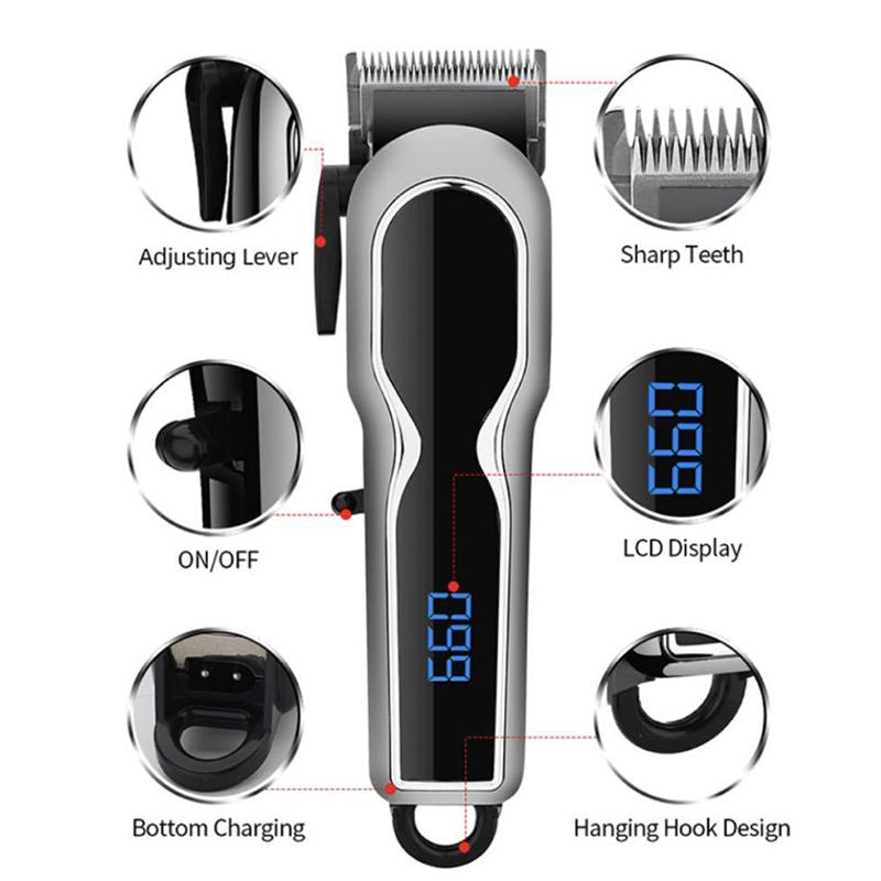 Hair Clipper Men's Electric Cordless Hair Trimmer Speed Adjustable Professional Haircut Beard Trimmer Hair Cutting Machine Kit with Ceramic Cutting Head four Attachment Combs