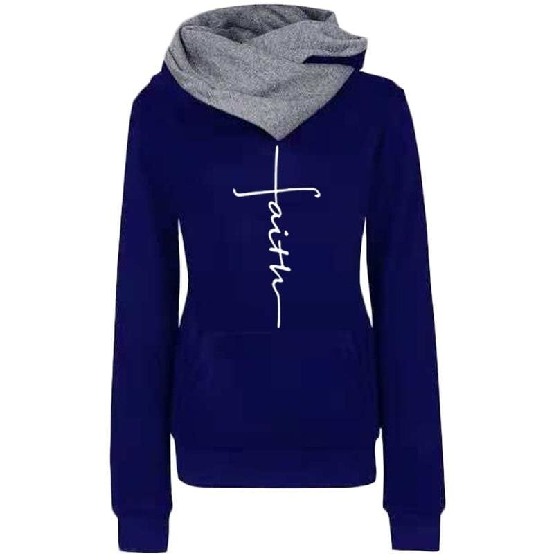 2019 Autumn And Winter Fashion Faith Print Hoodies Lapel High Collar Long Sleeve Hooded Sweatshirts Casual Pullover Tops Sweater