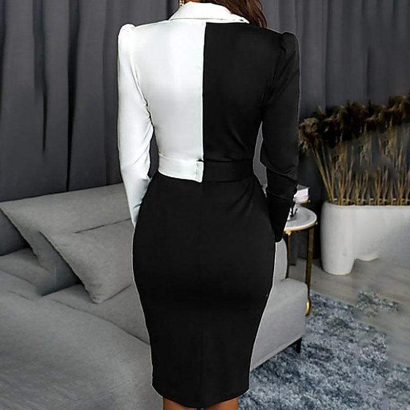 2019 Fashion Women V Neck Ol Style Long Sleeve Patchwork Formal Blazer Bodycon Workwear Dress Office Business Outfit Suit Dress