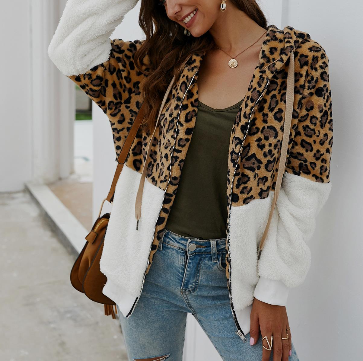 Leopard Long Sleeve Hooded with Overcoat