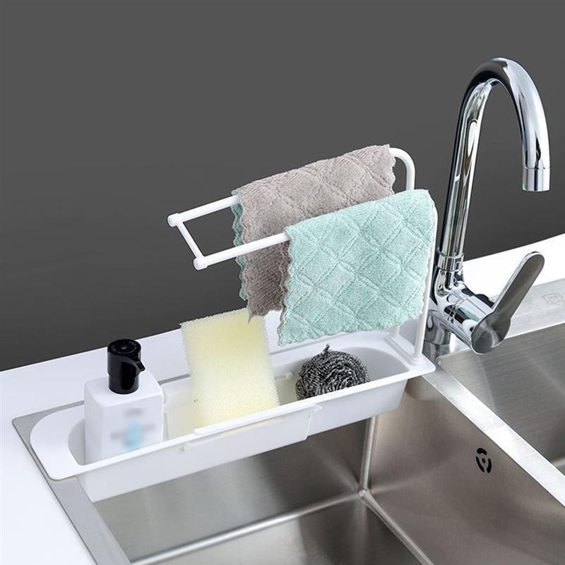 Telescopic Sink Shelf Soap Sponge Drain Rack Storage Basket Bag Faucet Holder Adjustable Bathroom Holder Sink Kitchen Accessorie