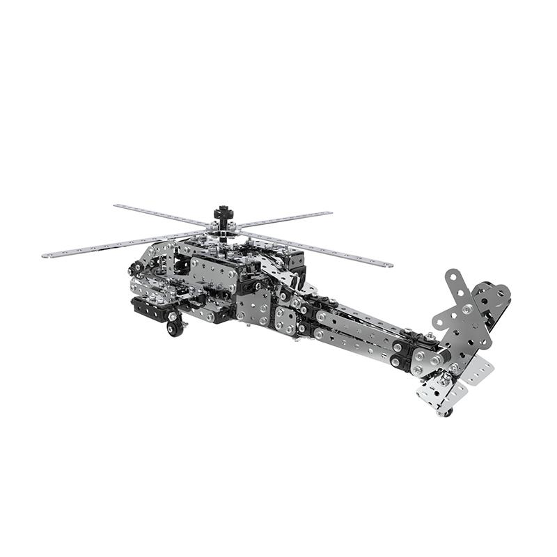 ZHIBO SW-021 567PCS Apache Helicopter DIY Stainless Steel Building Educational Toys