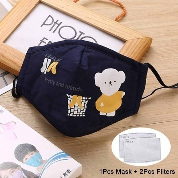 Anti Dust Face Mouth Mask Reusable Breathable Cotton Protective Children Kid Cartoon Cute PM2.5 Anti-Dust Mouth Face Mask with Filters