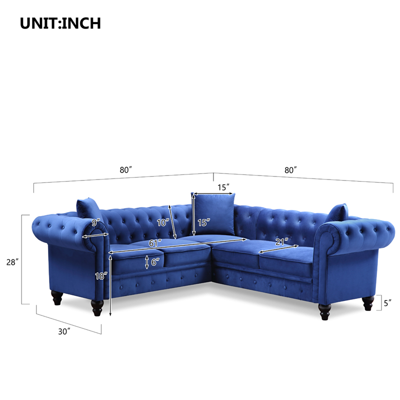 Buyonhome Upholstered Rolled Arm Classic Chesterfield Sectional Sofa