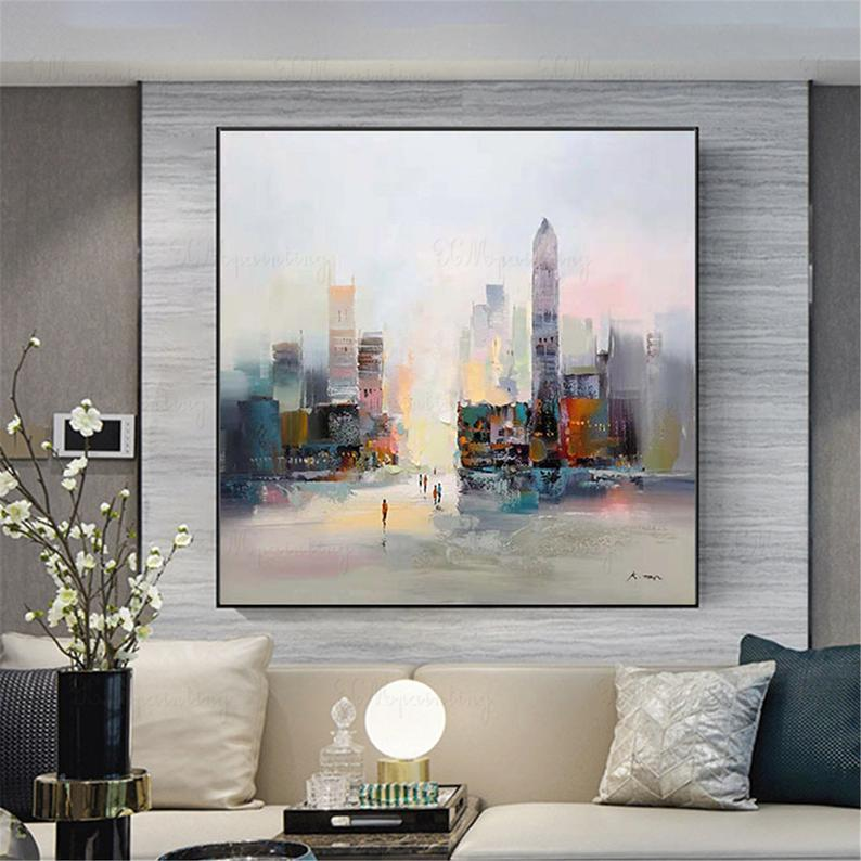 New York city landscape abstract paintings wall art pictures for living room wall decor home original gold art acrylic canvas thick textured
