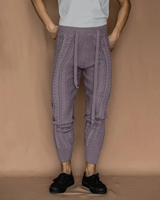 Solid Loose Kniited Skinny Lace-up Waist Pants