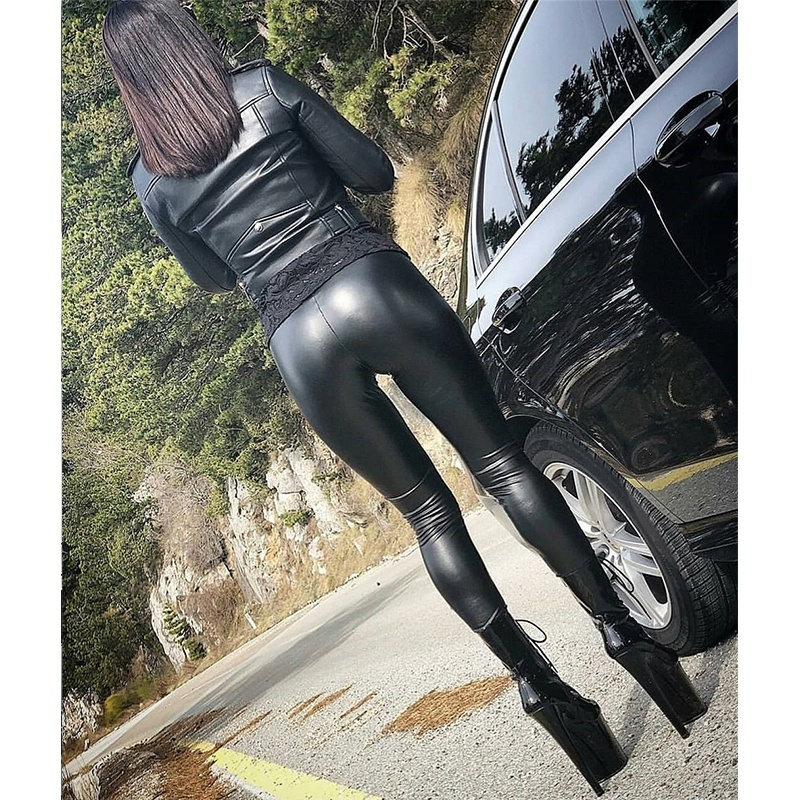 2019 Women Leggings Slim Ladies Pencil Trousers Elastic Hot-Ass PU Tight Leather Pants Yoga Pants Hip Pants