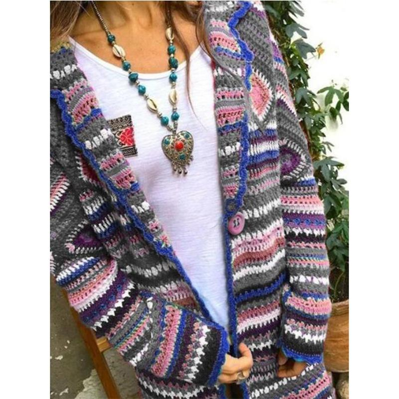 Women's ethnic color striped cardigan sweater long sleeve patchwork knitted rainbow striped cardigan