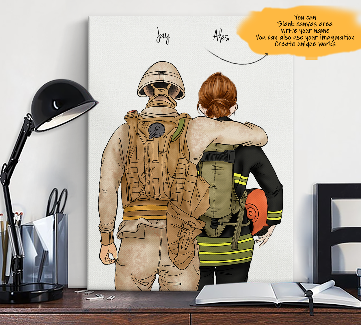 He is My Friend! Hand Draw Custom Canvas-Print Gift Soldier-Light&EMT