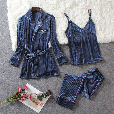 Golden velvet autumn and winter loose long-sleeved pajamas three-piece nightgown with chest pad