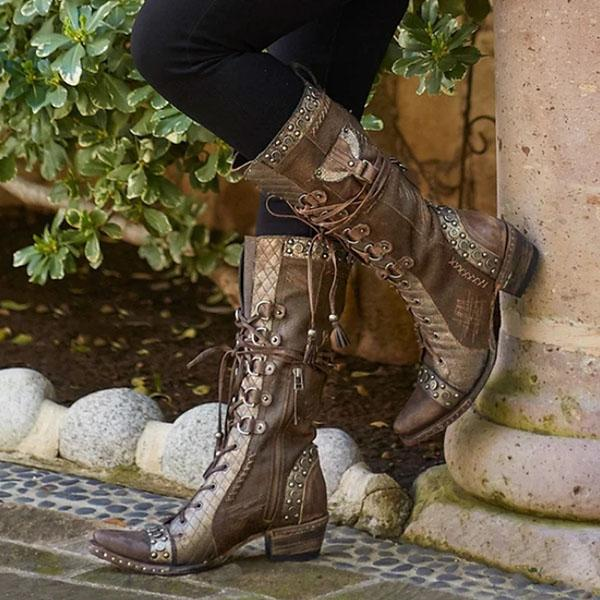 Faddishshoes Leather Lace-Up Stud Accents Zipper Boots