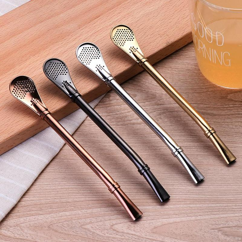 (🔥Clearance Sale - 50% OFF) Stainless Steel Drinking Straw Spoon ,Buy 5 Get 4 Free & Free Shipping