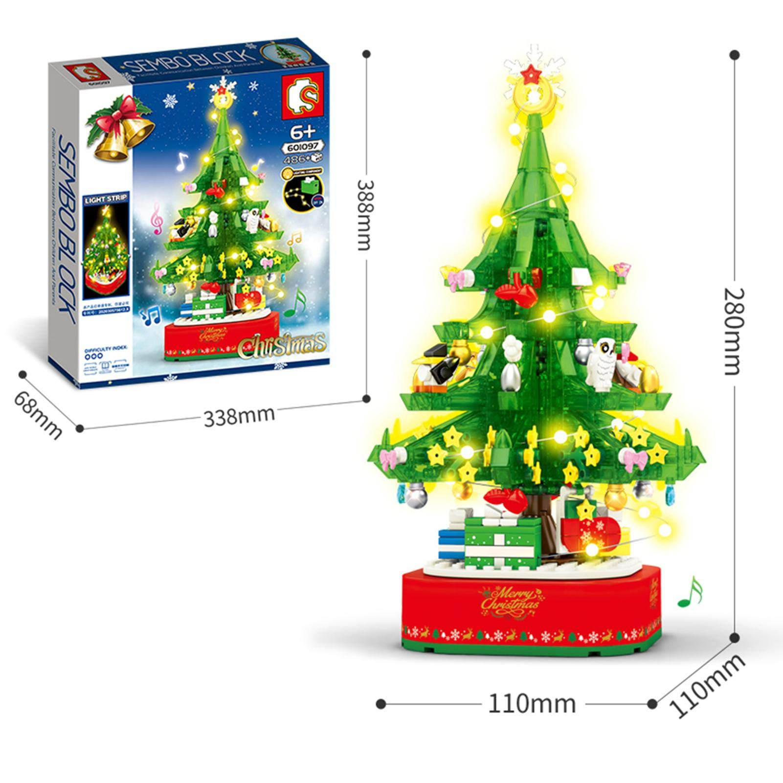 Christmas Tree Building Blocks Assemble Music Box Rotating Christmas Tree Music Box with Lighting Decoration
