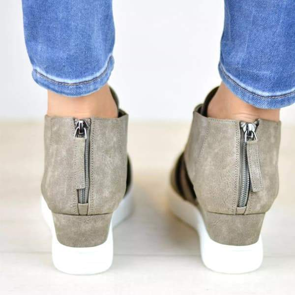 Faddishshoes Criss-cross Cut-out Wedge Sneakers