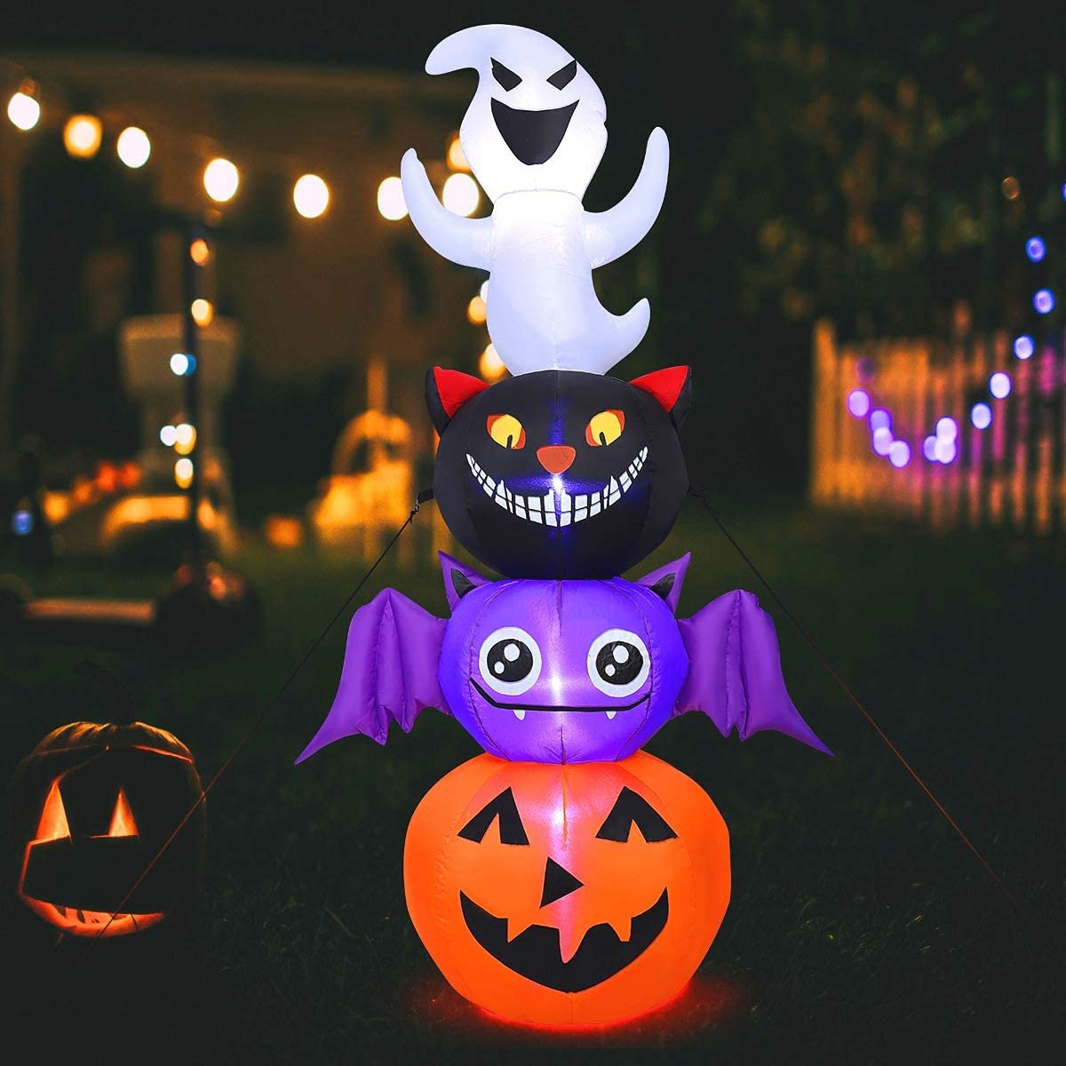 6ft Halloween Inflatables Pumpkin Outdoor Halloween Decor Built-in LED Lights with Tethers
