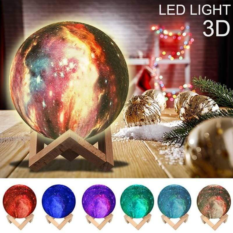 8/10/13/15/18/20cm 3D LED Painted Starry Sky Small Night Light Touch Control/ Remote Control Color-Changing Magical Galaxy USB LED Moon Night Light