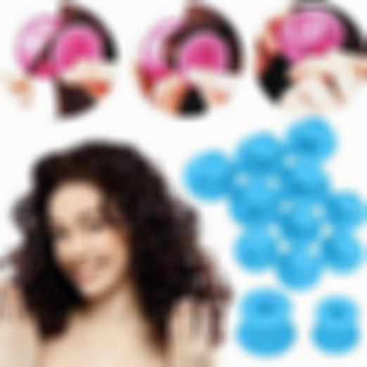 Kisslay 10pcs Heatless Silicone Rollers Hair Curlers DIY Hair Style Small Hair Care Curling Rollers