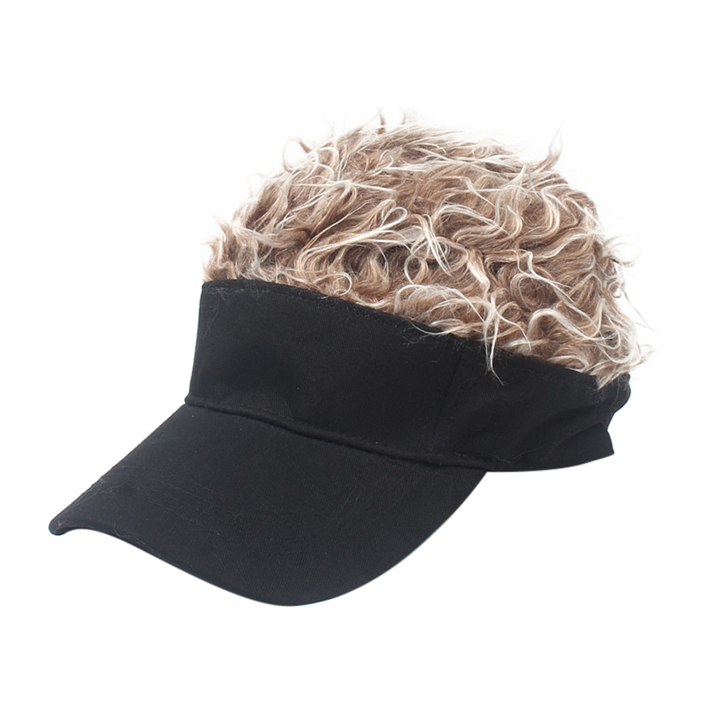 ADJUSTABLE SIZE MENS FAKE HAIR WIG BASEBALL CAP FANNY HATS BLACK,DRESS UP COSPLAY PARTY ETC PARENT-CHILD WIG HAT