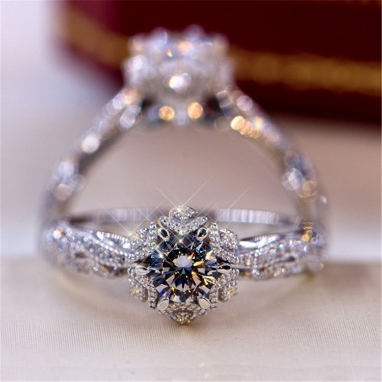 Exquisite 0.8ct White Sapphire Diamond Ring Women 925 Sterling Silver Bridal Engagement Wedding Jewelry Ring size 5-11
