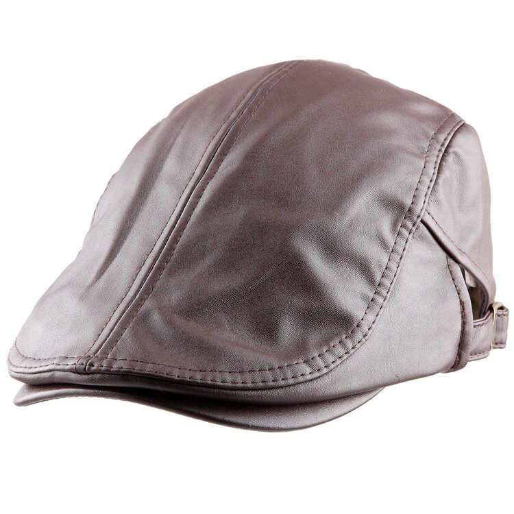 Mens Classic PU Leather Gatsby Beret Driving Cap