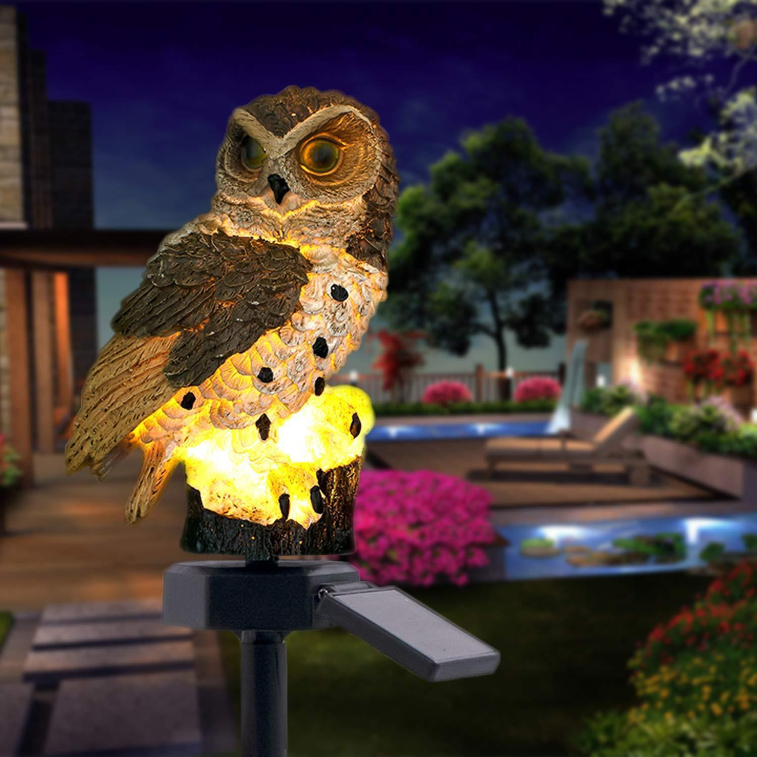 50% OFF-- Highpot Owl Shape Solar Powered LED Lamp Outdoor(Brown+White)