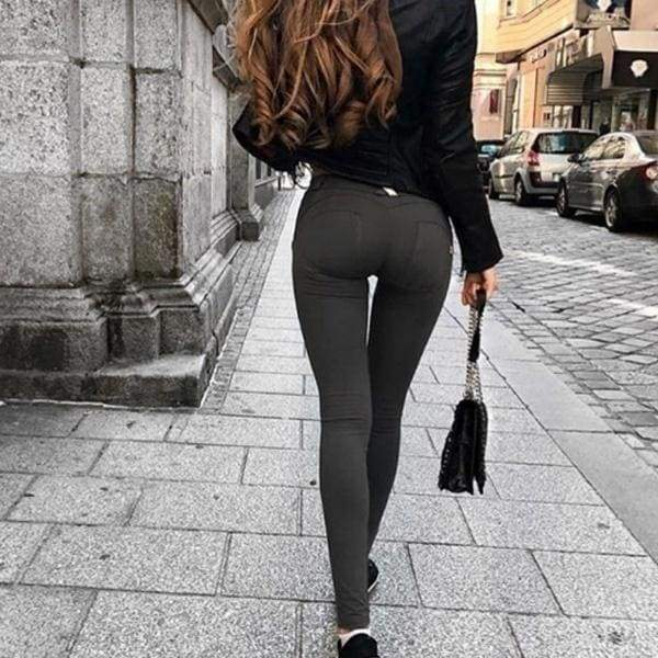 Spring Autumn Women Stretch Sexy Hips Long Trousers Elastic Hips Pants Slimming Leggings Sports Yoga High Waist Pockets Casual Pants Jeans Femme Large Size
