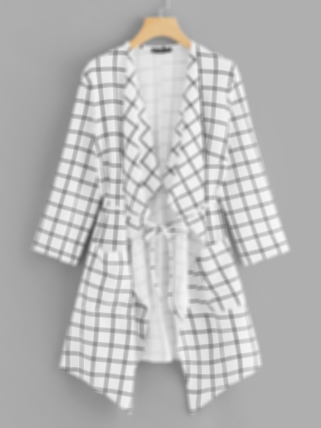 SHEIN Waterfall Collar Grid Print Coat