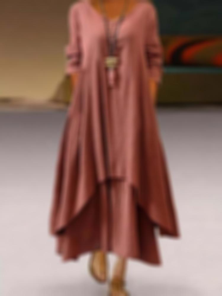 Casual and Loose Two Long Flax Dresses