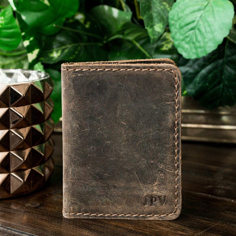 Minimalist Wallet, Leather Wallet, Bifold Wallet, Slim Wallet, Personalized Wallet, Father's Day Gift, Groomsmen Gift - Knox | Antique Brown        Update your settings