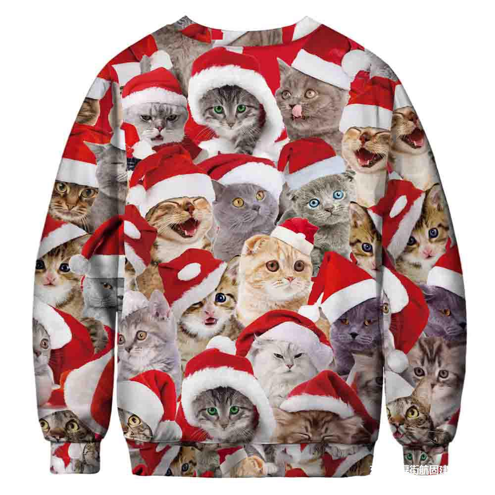 7 Ugly Christmas Sweatshirt Novelty 3D Graphic, Adult Neutral