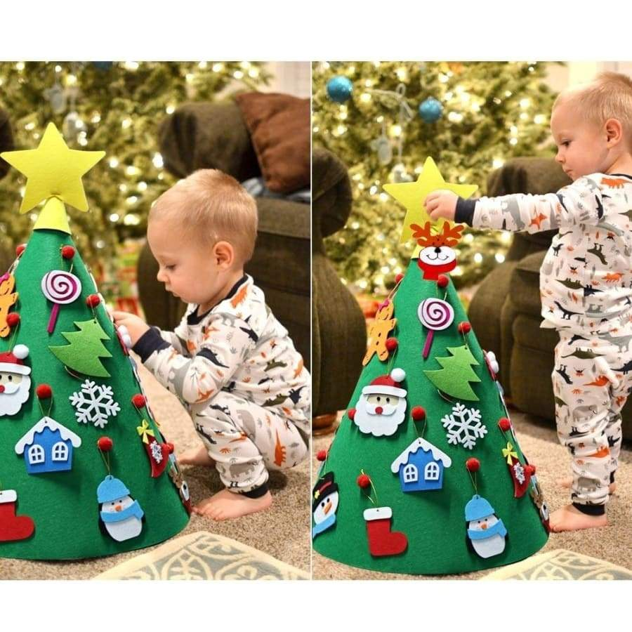 OurWarm DIY Felt Toddler Christmas Tree 2020 New Year Kids Gifts Toys 3D Artificial Xmas Tree Home Decoration Hanging Ornaments