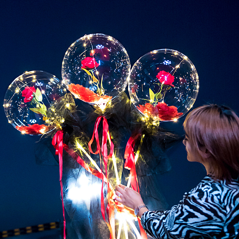 (Christmas Sale)LED Luminous Balloon Rose Bouquet-Flowers can be replaced