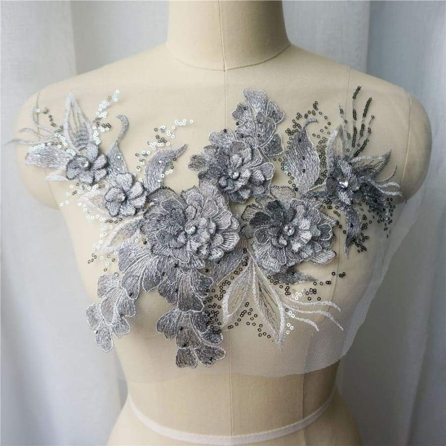 Sequin Embroidery Lace Applique Sewing Rhinestone Flower Collar Patch Wedding Gown Bridal Dress DIY