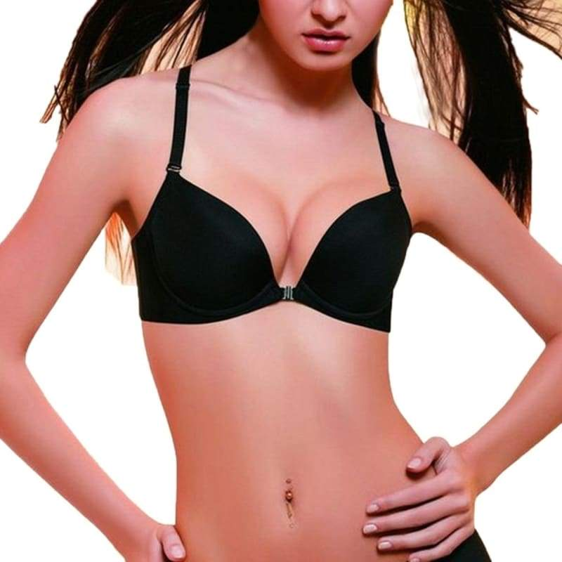 4 Colors Sexy Lady Smooth Front Closure Bra Underwear Women Push Up Bra Cup Size B