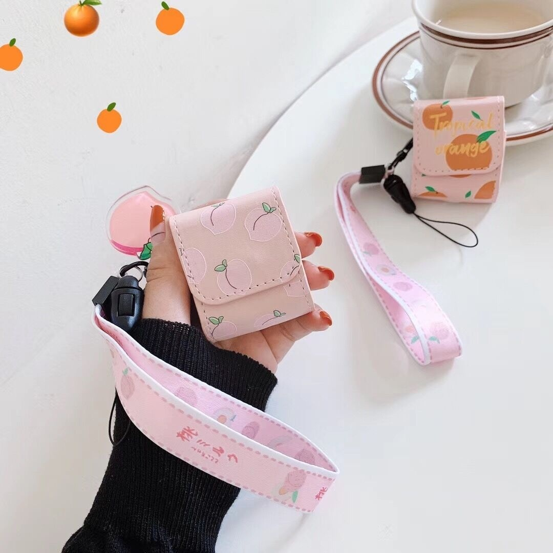 Women's Cute Orange/ Peach Pattern Leather Pink Case Cover With Hand Strap For Apple Wireless Airpods