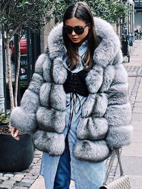 Fashion Loose Faux Mink Fox Fur Coat Women's Mid-length Hooded Coat