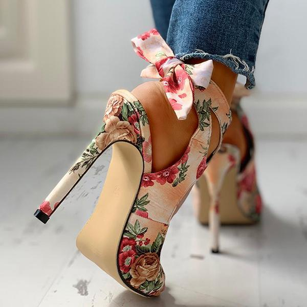 Faddishshoes Floral Print Peep Toe Cut Out Thin Heeled Sandals