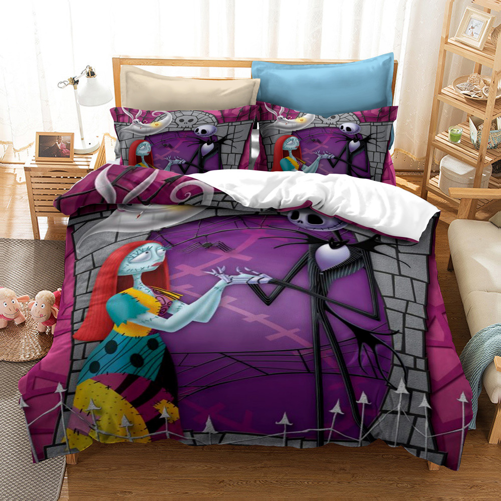 Duvet Cover Sets, Nightmare Before Christmas Jack and Sally Rose Decor Bedding Set