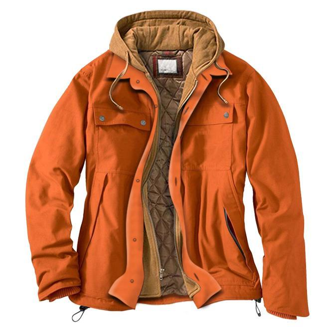 Men's solid color casual padded hooded work jacket