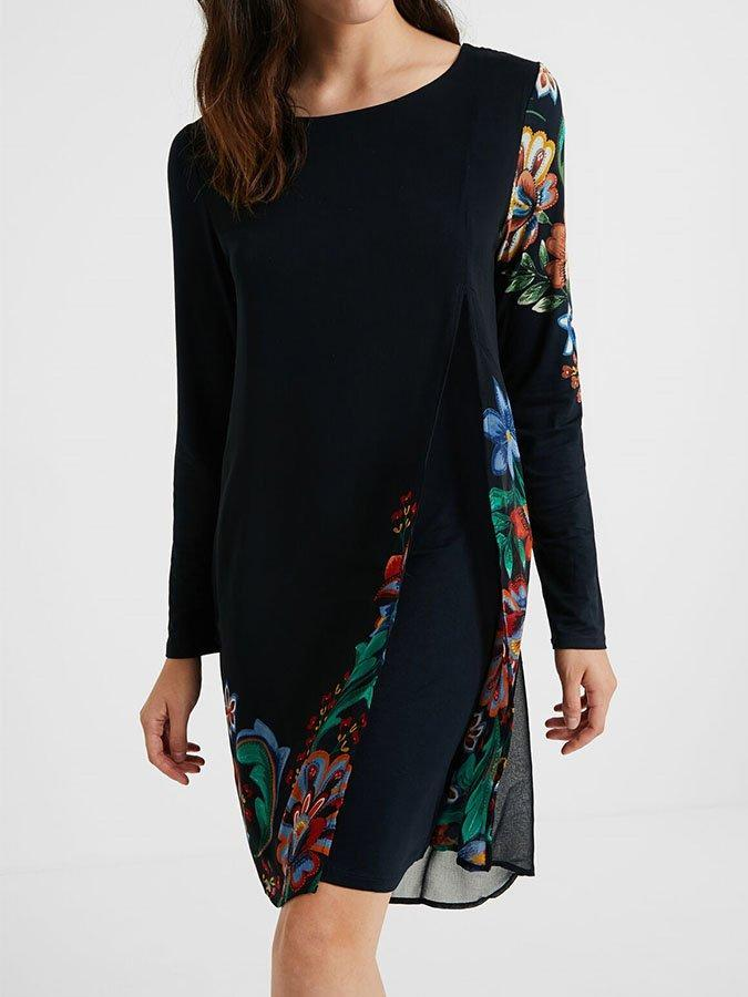 Black Casual Floral Crew Neck Dresses
