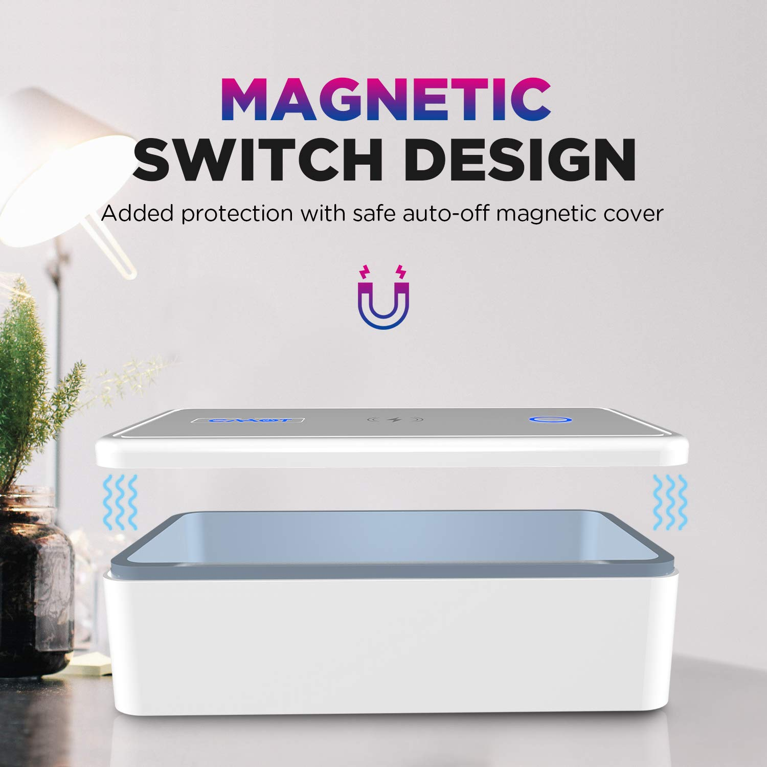 Fast UV Light Sanitizer Box , Portable Phone UVC Light Sanitizer with Extra Rack, Wireless Charging for Smart Phone