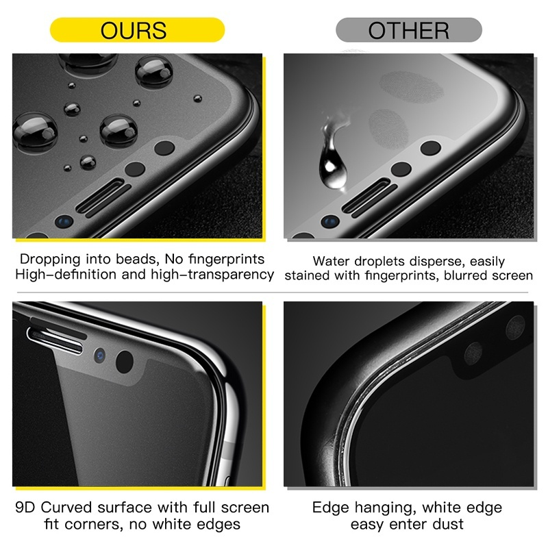 Full Cover Matte Tempered Glass Smooth Anti-fingerprint and Shockproof Suitable for Iphone 6 6 Plus 7 7 Plus 8 8 Plus X Xs Xs Max Xr 11 11 Pro 11 Pro Max
