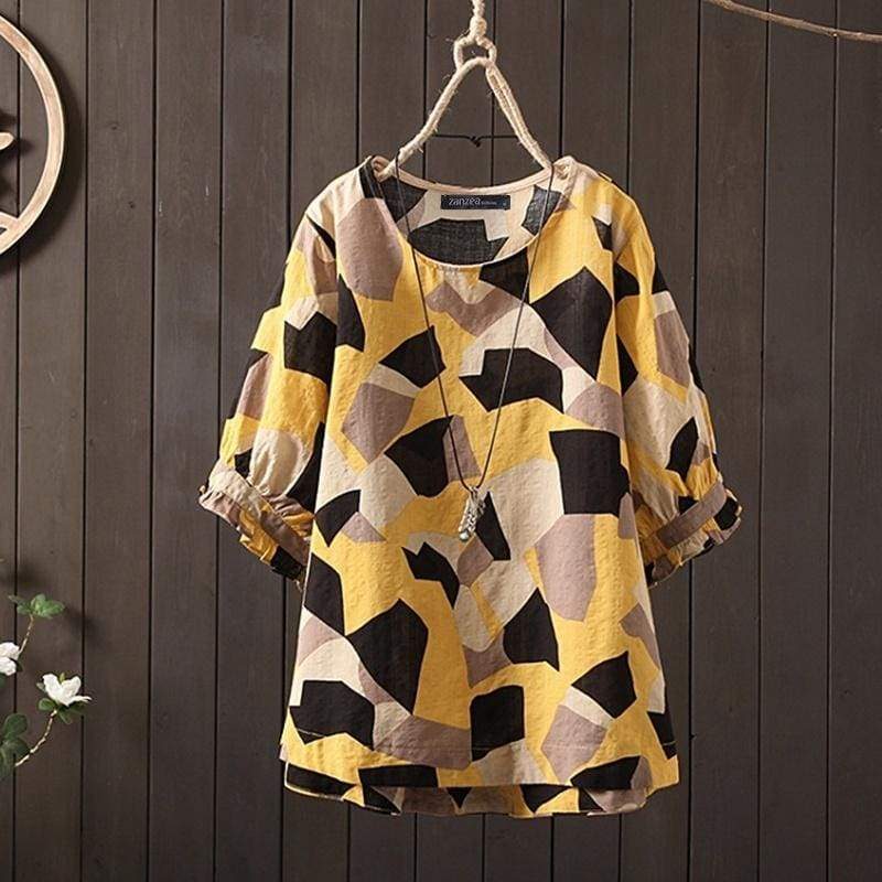 ZANZEA Women fashion Baggy Puff Sleeve O Neck Printed Shirts Tunic Tops Casual Loose Blouse Plus Size