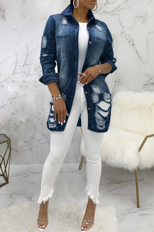 Brushed Long Sleeve Denim Jacket